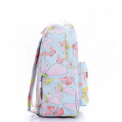 Stampa Zaino Floreale Zaino Canvas Zaino Coolpack Daypack Scuola Borsa Universale Bag Daypack per Donne Ladies Girls Farfalla blu e dentellare