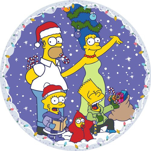 Click for larger image of Susan Prescot Games The Simpsons CC105 Family Christmas  Circular Jigsaw 500 pcs