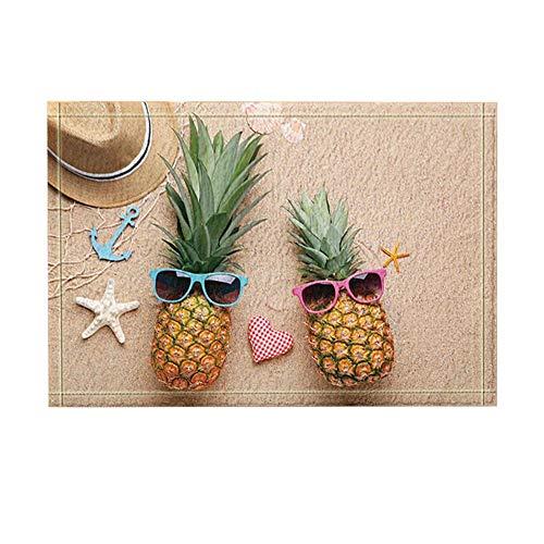 Aliyz Seestern-Dekor, reife Ananas mit Sonnenbrille am Strand Sand Badteppiche für Badezimmer, Rutschfeste Bodeneingänge Outdoor Indoor-Türmatte, Kinder Badematte, 15,7 x 23,6 Zoll grün (Multi18)