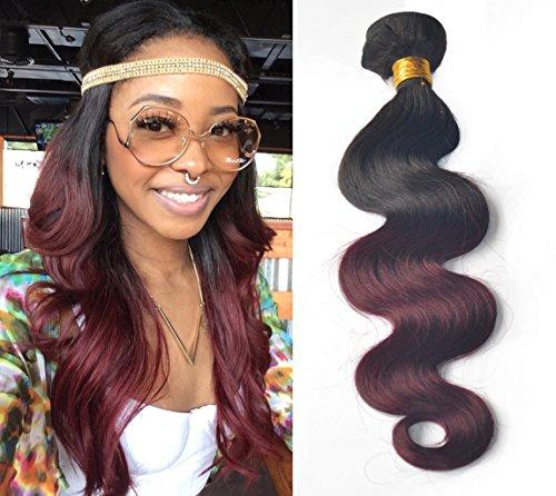 Greemeo body wave bresilien extension de cheveux humain tissage de haute qualité lisse rouge ombre Ondulés 1 trame 100g noir à Bordeaux (22 pouces, 1b/99j)