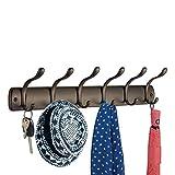 mDesign Wandmontierte Hakenleiste für Jacken, Mäntel, Mützen, Schals - 6 Haken, Bronzefarben