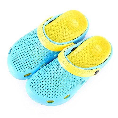 Eastlion Sommer Paar Anti-Rutsch Loch Sandalen Big Head Cool Hausschuhe Unisex Garten Schuhe Blau Gelb