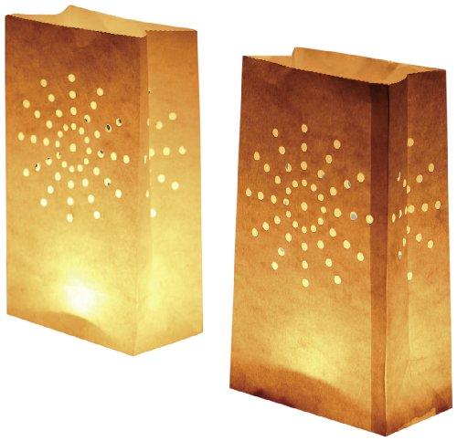 LUMINARIA 8546100 Lichtertüte Sonne groß - 10er Set, Windlicht, Zellstoff, 15 x 26 x 9 cm, Weiß