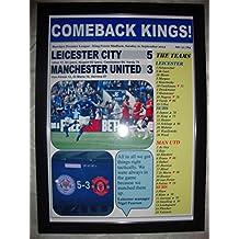 Leicester City 5 Manchester United 3 - 2014 - impresión enmarcada