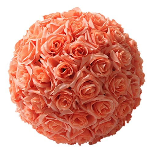 SODIAL 8 Zoll (20Cm) Wedding Dekorationen Künstliche Rose Seidenblume Ball Mittelstücke Minze Dekorative H?ngende Blume Ball Wein (Orange)