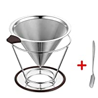 Coffee Filter 304 Stainless Steel Coffee Dripper - Reusable Pour Over Portable & Paperless Permanent Cone double fine mesh Pour Over Coffee Maker with Separate Stand with Silicon Handle for1-4 cups