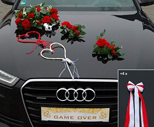 ECHTER ROSESTRAUSS Auto Schmuck Braut Paar Rose Deko Dekoration Autoschmuck Hochzeit Car Auto Wedding Deko (Rot + Herzen + Tauben)