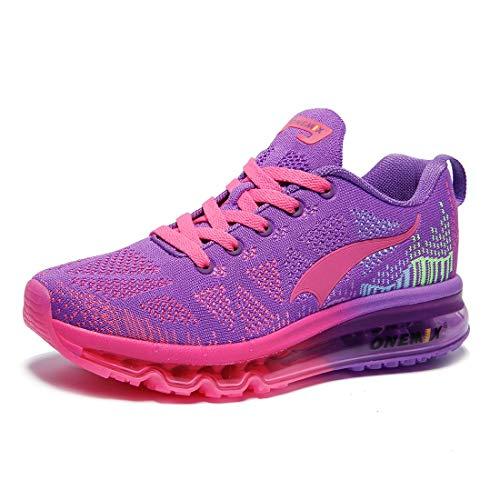 ONEMIX Damen Laufschuhe Air Sportschuhe Sneaker Turnschuhe Running Fitness Straßenlaufschuhe Lila 1118W ZTH 35