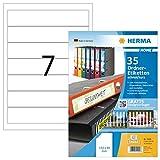 Herma 12900 - Etichette per raccoglitore ad anelli, rimovibili, formato A4, 192 x 38 mm, 5 fogli (35 pz in totale), colore: Bianco