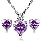 Monbedos Zirkon eingelegten Herz Stil elegant Frauen Schmuck Set aus Anh?nger Halskette + Ohrringe, violett, 1.6 x 1 cm