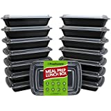 Freshware BPA-free 1 Compartment with Lids Food Containers (Black) - 15 Pack