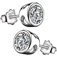 Viyino Fashion 925 Sterling Silver Black Paint Outer round and inner star Shape Studs Earrings QIgJW