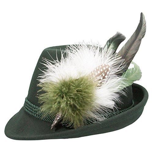 Alpenflüstern Damen Filzhut Trachtenhut grün mit Hutfeder Farbenfroh ADV07600M50 grün