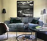 Amaris Elements Cooper, Divano Moderno a 3 posti, con 5 Cuscini, 100% Microfibra, Effetto Velluto, Blu e Grigio, 3 pz, con, Blu/Grigio, Ecksofa rechtsseitig