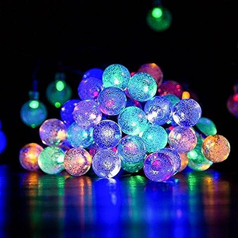 Guirlande solaire Globe, Satu Marron 60LED 36m 11m Guirlande lumineuse Patio, éclairage extérieur pour Festive Décoration Jardin, camping, fêtes de Noël, Yard Deck (Multicolore)