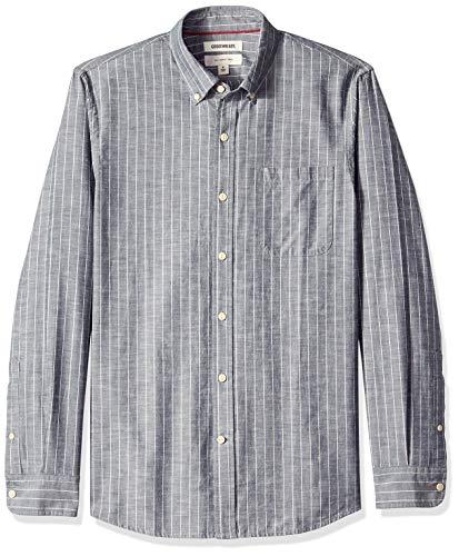 Nadelstreifen Button-down-shirt (Goodthreads Herren Slim-Fit Chambray-Hemd, Blau (Denim Stripe Den), Gr. Medium)