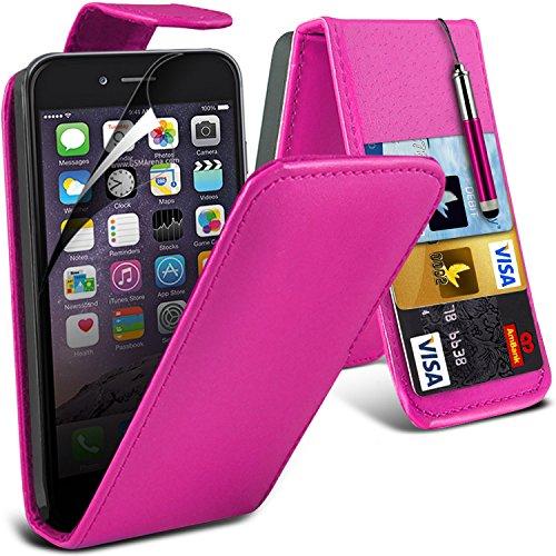 Fone-Case ( Hot Pink ) Apple iPhone 6S Plus Hülle Abdeckung Cover Case schutzhülle Tasche Brand New Luxury PU-Leder-Schlag mit 2 Kredit- / Bank-Karten-Slot-Kasten-Haut-Abdeckung mit LCD-Display Schutzfolie, Poliertuch und Mini-versenkbaren Stift