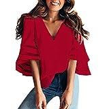 Overdose Mode Frauen Pailletten Casual T-Shirt Tops Schulterfrei Bluse Plus Größe Damen Lose Tees Hemd Freizeit Oberteile(Rot,EU-42/CN-XL )