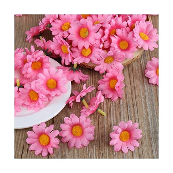 Naler 120 Margaritas Artificiales Pequeñas Cabezales de Flores Artificiales Decoración Boda, Fiesta, DIY Manualidades…