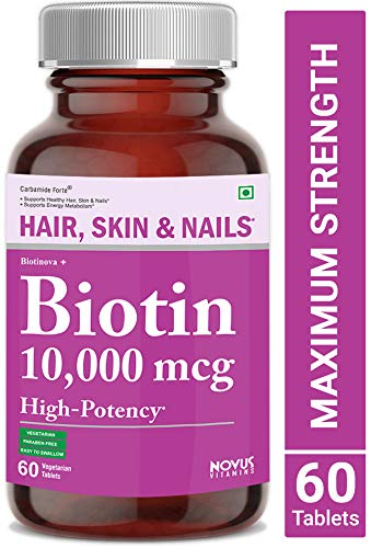 Carbamide Forte High Potency Biotin 10000mcg Maximum Strength for Hair Growth - 60 Veg Tablets