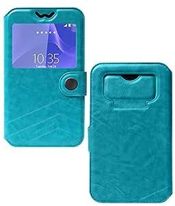 DMG Lishen Premium Flip Cover Case for Karbonn Android One Sparkle V (Blue)
