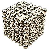 Cubo magico composto da sfere magnetiche in ferro, 216 pezzi, diametro: 5 mm, puzzle, soprammobile, giocattolo, antistress, sviluppa l'intelligenza - Argento