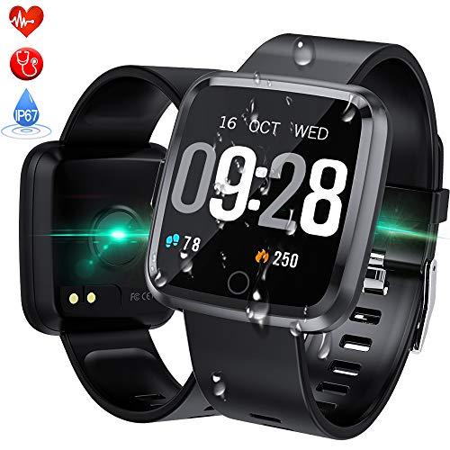 Smartwatch Wasserdicht IP67 Bluetooth Smartwatch Pulsuhr Fitness Tracker Sportuhr mit Kamera Romte Schlafmonitor Kalorienzähler erfassen SMS Whatsapp Note Kompatibel für IOS Android E-mail Bluetooth