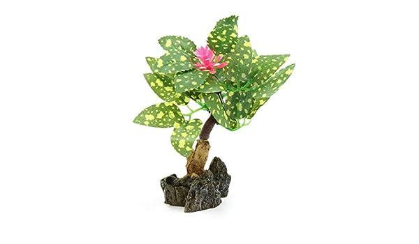 Sourcingmap Green Plastic Decorative Lifelike Mini Tree Plant Ornament for Aquarium Betta
