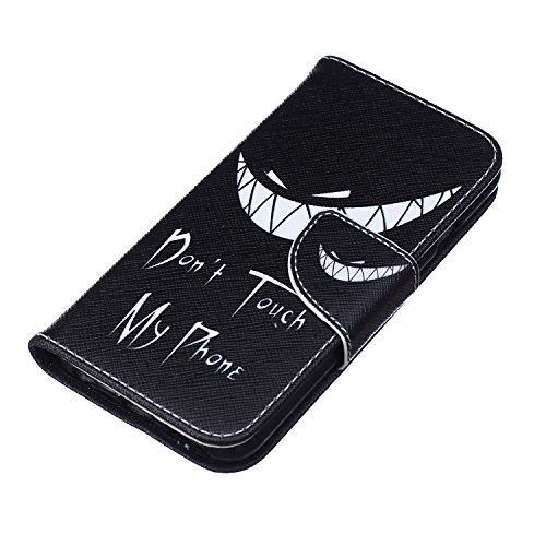 Ukayfe Custodia portafoglio / wallet / libro in pelle per Apple iphone 6 Plus /6S Plus (5.5 pollice ) - Cover elegante e di alta qualità con porta carte di credito e banconote Stampa creativa e cinghi Dont touch my phone (squalo)
