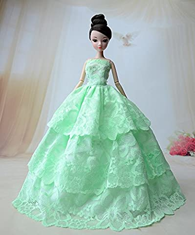 Stillshine Beautiful Fashion Handmade Clothes Dress for Barbie . Princess Doll Wedding Gown Lace Floral Dress, Dresses for Barbie/doll long dress A01758 (green)