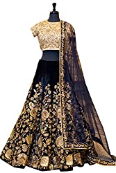 Fabron Navy Blue Dori Work Semi Velvet Lehenga And Satin Banglori Choli & Net Dupatta Set