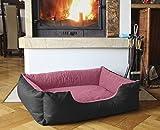 BedDog Hundebett LUPI / Hundesofa aus Cordura & Microfaser-Velours / waschbares Hundebett mit Rand / Hundekissen eckig / für drinnen & draußen / L / PINK-ROSE / schwarz-rosa
