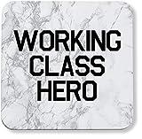 Hippowarehouse Working Class Hero Coaster Impreso Acabado Brillante Respaldo Duradero 9 cm x 9 cm Paquete de 2