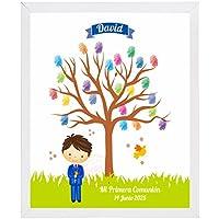 Recuerdos y detalles para Primera Comunión. Cuadro Árbol de huellas Niño Comunión. Incluye marco, almohadilla con 5 tintas y explicación.
