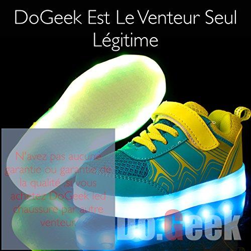 DoGeek Enfants Led Baskets Lumineuse Chaussure 7 couleurs Filles Garcon LED Chaussure Lumineuse Lumière Jaune
