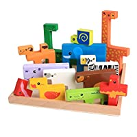 TOYMYTOY Wooden Jigsaw Puzzle Board Wild Safari Animals Wooden Blocks Kids Educational Sensory Learning Toy