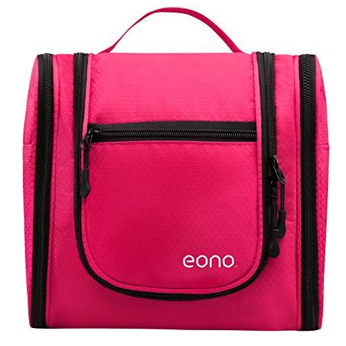 Eono Essentials Große Kosmetiktasche für Männer & Frauen für Make-up, Kosmetik, Rasur, Reisezubehör, persönliche Gegenstände - Hängendes Toilettenartikel-Set Make-up Organizer Fuschia