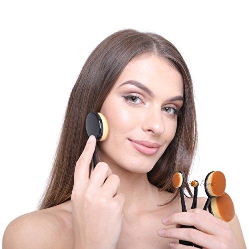 Ikebana Trends® - Pinceaux de Maquillage Ovales - 10 pièces en Maquillage Noir pour un usage Professionnel et Domestique - Design de brosse à dents Noire- pour le Visage et les Yeux