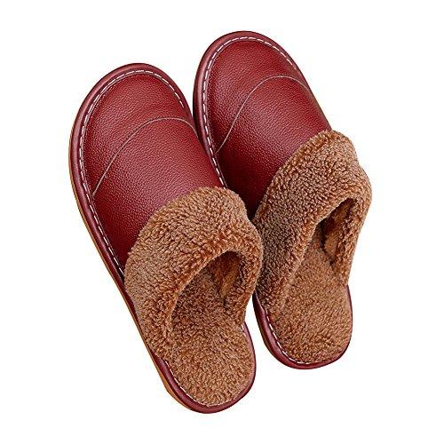 TELLW Pantofole in Pelle Uomini e Donne casa Non-Slip Caldo in Legno Indoor Comfort Home Cotone Pantofole Inverno Vino rosso