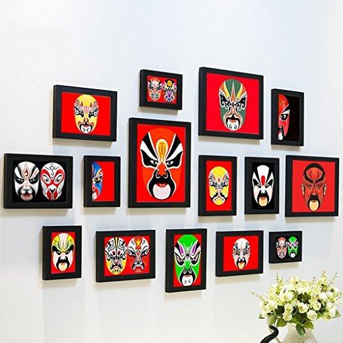 Fotowand Triptychon-Persönlichkeits Einfaches und modernes Wohnzimmer-Schlafzimmer-Foto-Wand-Portfolio/kreativer Foto-Rahmen-Hintergrund-Wand/Peking-Opern-Masken-Foto-Wand Frame Set für Hausdeko (Foto-frame-maske)