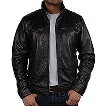 Brandslock hombre chaqueta de cuero de brando moto vaca real hide