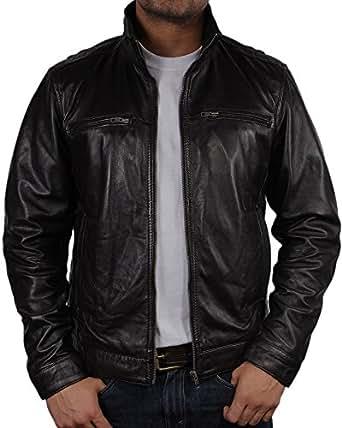 Mens Leather Biker jacket Black Brand New Real Leather Coat Designer Large