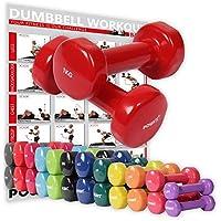 POWRX Vinyl Hanteln inkl. Workout Gymnastikhanteln Ideal für Aerobic Pilates 0,5 kg – 10 kg   Kurzhantel Set in Versch. Farben