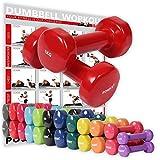 Vinyl Hantel Paar Ideal für Gymnastik Aerobic Pilates 0,5 kg – 10 kg | Kurzhantel Set in versch. Farben (2 x 1 kg)