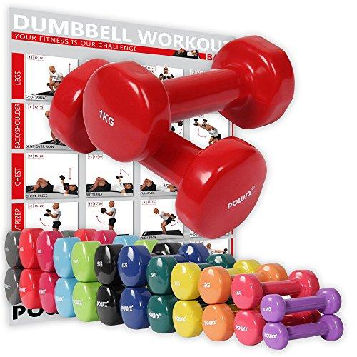 POWRX Vinyl Hanteln Paar Ideal für Gymnastik Aerobic Pilates 0,5 kg - 10 kg I Kurzhantel Set in versch. Farben (2 x 1 kg (Rot))