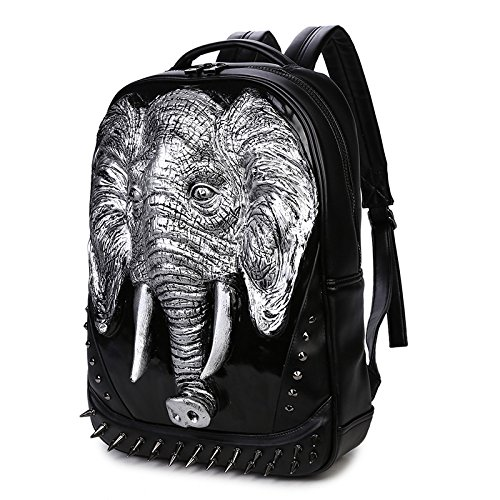 SZH 3D Elephant Decor PU sac à bandoulière imperméable randonnée Voyage Sac à dos