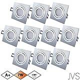 10er Set STAR SILBER Q 230V LED SMD 7W Warmweiss Decken Einbaustrahler Einbauspots Deckenspots (Aluminium-gebürstet) inkl. GU10 Fassung mit 15cm Anschlusskabel
