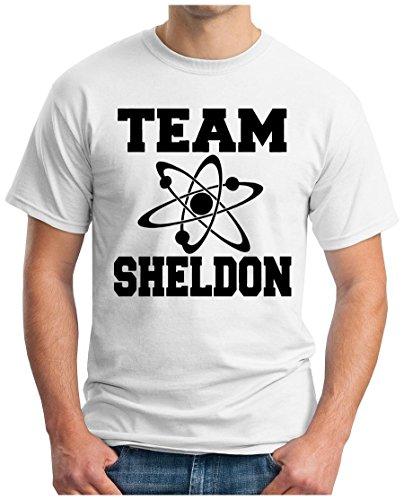 OM3 - BIG-BANG-TEAM-S - T-Shirt ATOM PENNY KITTY GEEK EMO FUN SITCOM TBBT NERD SARCASM PARODY, S - 5XL Weiß