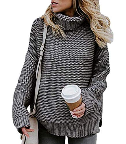Huateng Damen Rollkragen Langarm Chunky Knit Pullover Pullover, gemütliche Winter Herbst Strickwaren Pullover grau Größe S - Chunky Knit Rollkragen