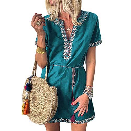 Sanahy Damen Sommerkleider V-Ausschnitt, Strandkleider Einfarbig Kurzarm Lässige Minikleid Sexy Retro Druck Rom Boho Kleid Strappy Bandagen -